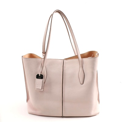 Tod's Pale Pink Pebbled Leather Tote
