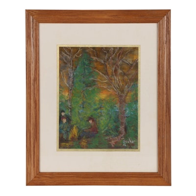 Will Becker Pastel Drawing of Forest Scene