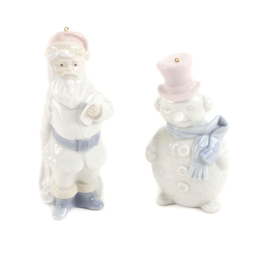 Lladró Santa Claus Porcelain Ornament and Snowman Porcelain Ornament, circa 1990