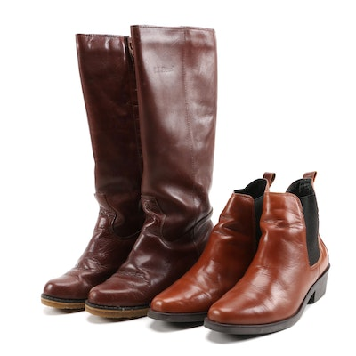 Ariat Seville Booties in Cognac and L.L. Bean Brown Leather Boots