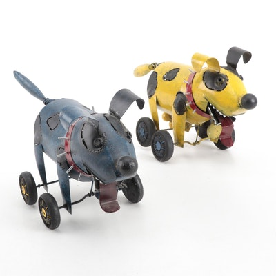 "Painted Metal ""Scooter"" Dog Figurines"