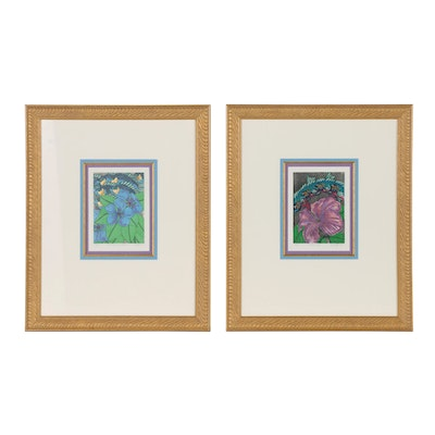 Carroll Swayze Hand Colored Etchings of Fish and Flowers