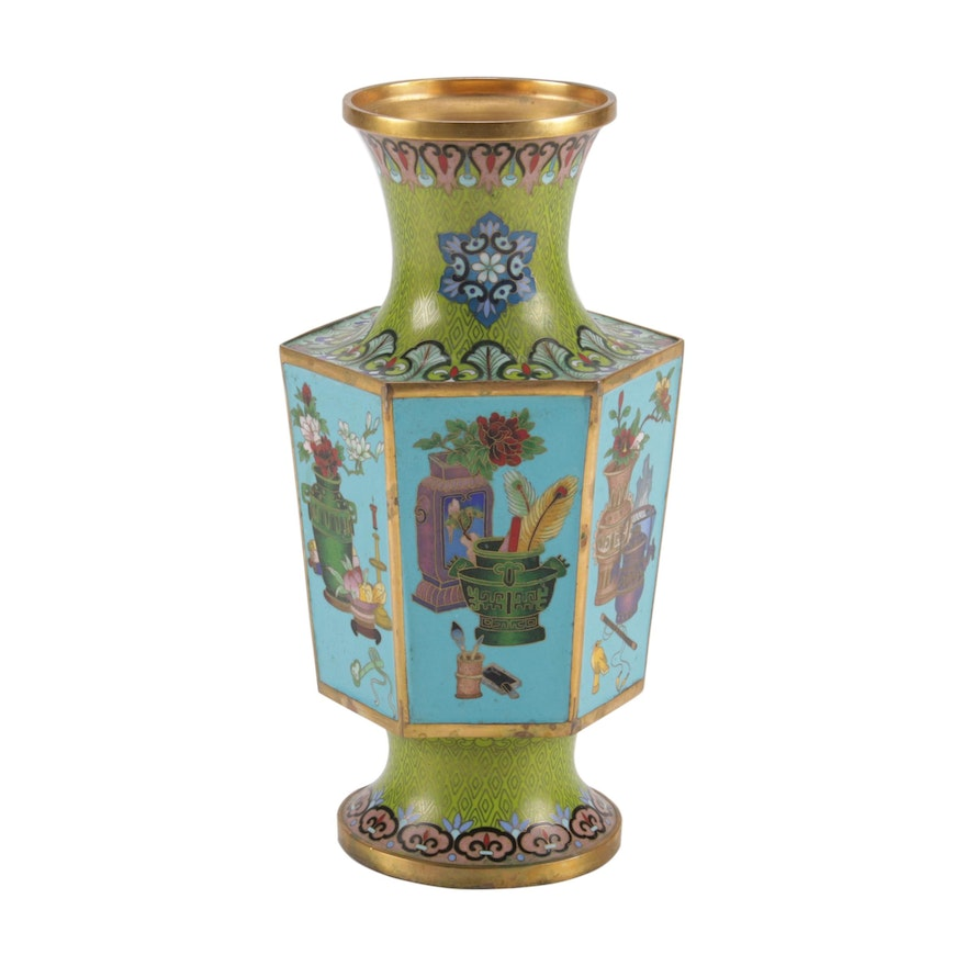 Chinese Cloisonné Brass Vase, Mid-20th Century
