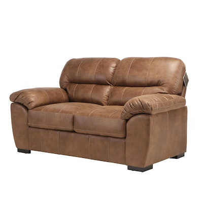 Contemporary Faux Leather Pillow Back Love Seat