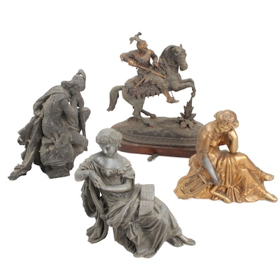 Classical Style Spelter Figural Sculptures, Late 19th/Early 20th Century
