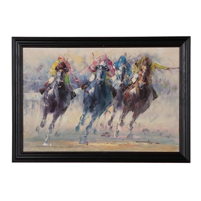 Anthony Veccio Oil Painting of Horse Race, Late 20th Century