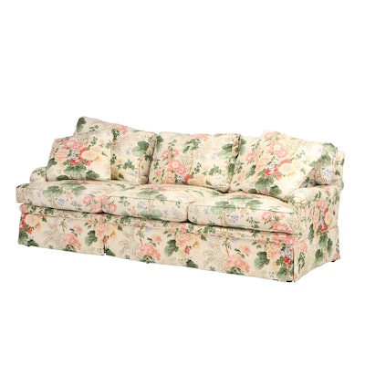 E.J. Victor Traditional Style Skirted Floral Upholstered Sofa, Late 20th Century