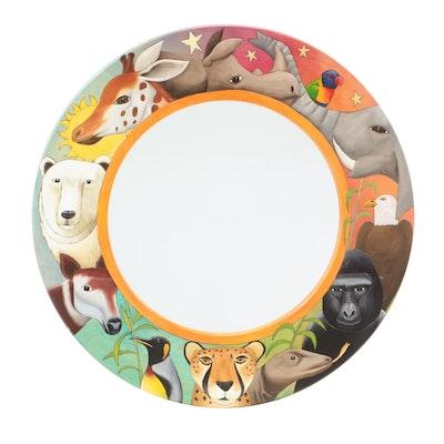 Painted Wooden Zoofari Adventure Down Under Round Wall Mirror, 2006