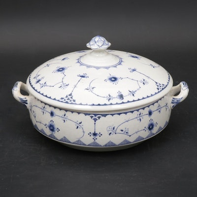 "Furnivals English ""Denmark Blue"" Round Covered Vegetable Dish"
