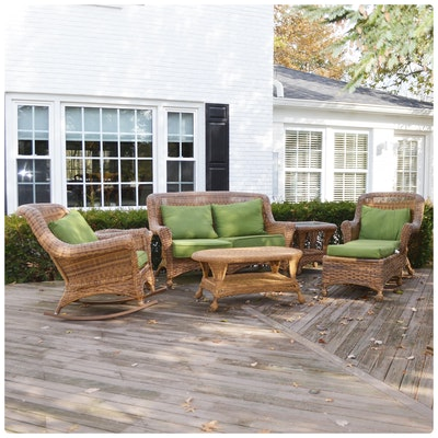 Wicker Patio Settee, Rocking Chair, and Chaise Lounge Set, Contemporary