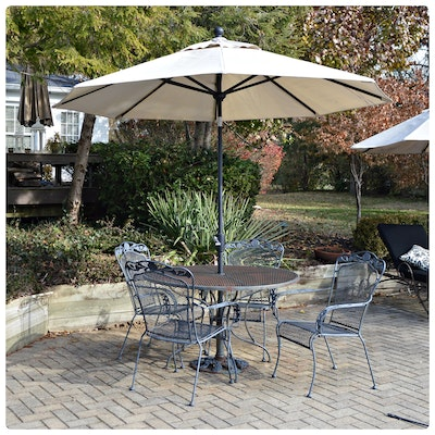 Wrought Iron Mesh Dining Table and Chairs with Umbrella, Contemporary
