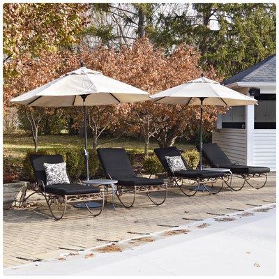 Metal Patio Chaise Lounges, Umbrellas and Accent Tables, Contemporary