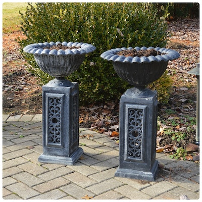 Pair of Scalloped Urn-Shaped Metal Patio Pedestal Planters