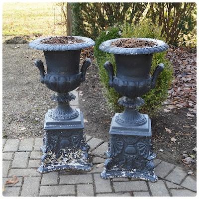 Pair of Urn-Shaped Metal Patio Pedestal Planters, Vintage