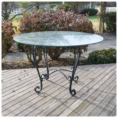Contemporary Wrought Iron Glass Top Patio Table