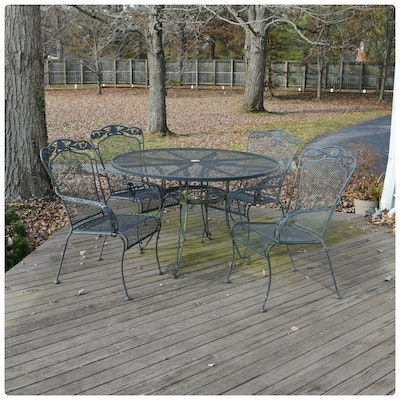 Wrought Iron Mesh Patio Dining Table and Armchairs, Contemporary