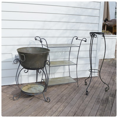 Patio Copper Beverage Tub, Glass Serving Stand and Wrought Iron Plant Stand