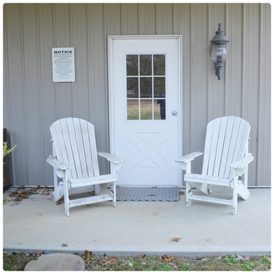 Pair of White Painted Patio Adirondack Chairs, Contemporary
