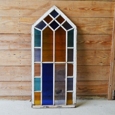 Stained Glass Wood Window Panel, Antique