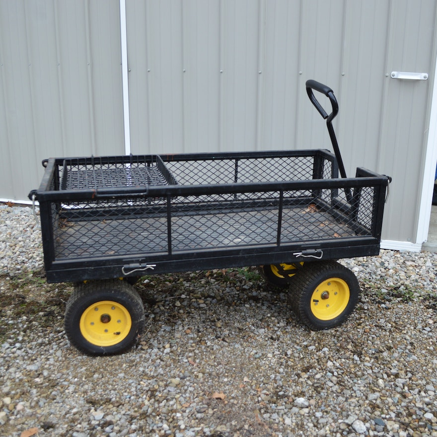 Metal Mesh Yard Cart Manual Pull Wagon