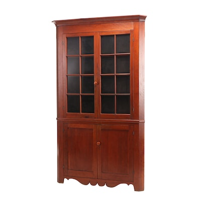 Federal Cherry Corner Cupboard, Early 19th Century