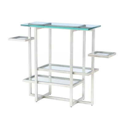 Glass Top Multi-Tier Metal Display Shelving Unit, Contemporary