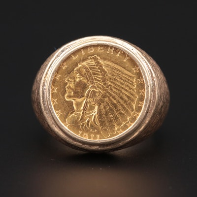 14K Yellow Gold Ring With 1911 Indian Head $2.50 Quarter Eagle Gold Coin