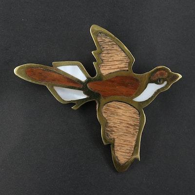 Wood and Resin Bird Brooch