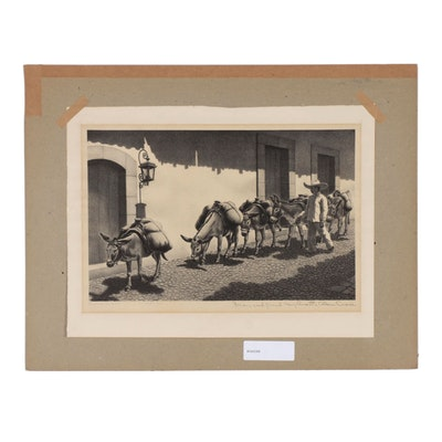 "Alan Crane Lithograph ""Burro Train"""