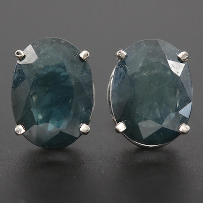 14K White Gold Sapphire Stud Earrings