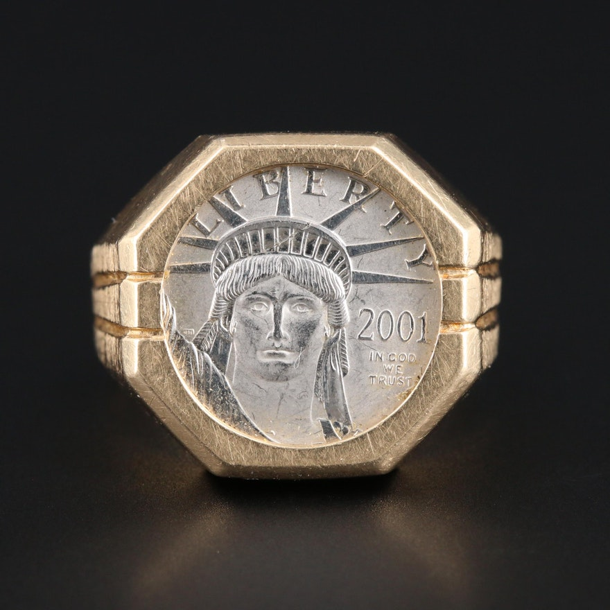 14K Yellow Gold Ring With 2001 Platinum Eagle $10 Platinum Coin