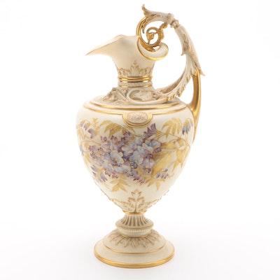 Royal Worcester Gilded Blush Ivory Porcelain Ewer, 1892