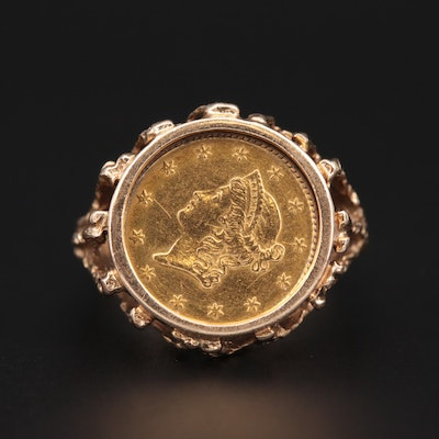 14K Yellow Gold Ring With 1850 Liberty Head $1 Gold Coin