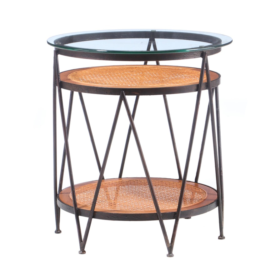Glass Top Metal Display Table with Cane Shelving, Contemporary