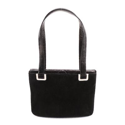 Vintage Judith Leiber Black Suede and Lizard Skin Shoulder Bag