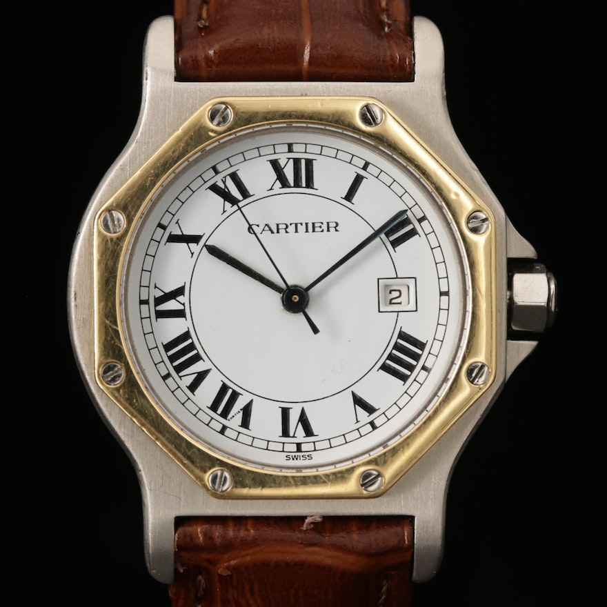 Cartier Santos Octagon 18K Gold and Stainless Steel Automatic Wristwatch