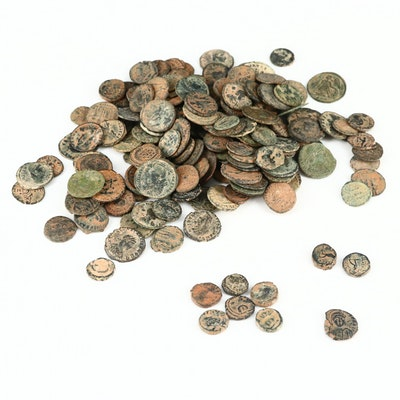 190 Small Ancient Bronze Coins, Mainly Later Roman Imperial