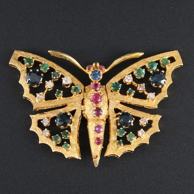 14K Yellow Gold Sapphire, Ruby, Emerald and Diamond Articulated Butterfly Brooch