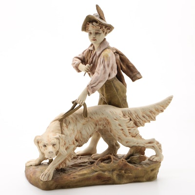 Royal Dux Boehmia Porcelain Boy with Dog Figurine, Late 19th/Early 20th Century