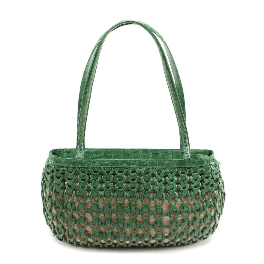 Nancy Gonzalez Green Caiman Crocodile and Straw Woven Basket Shoulder Bag