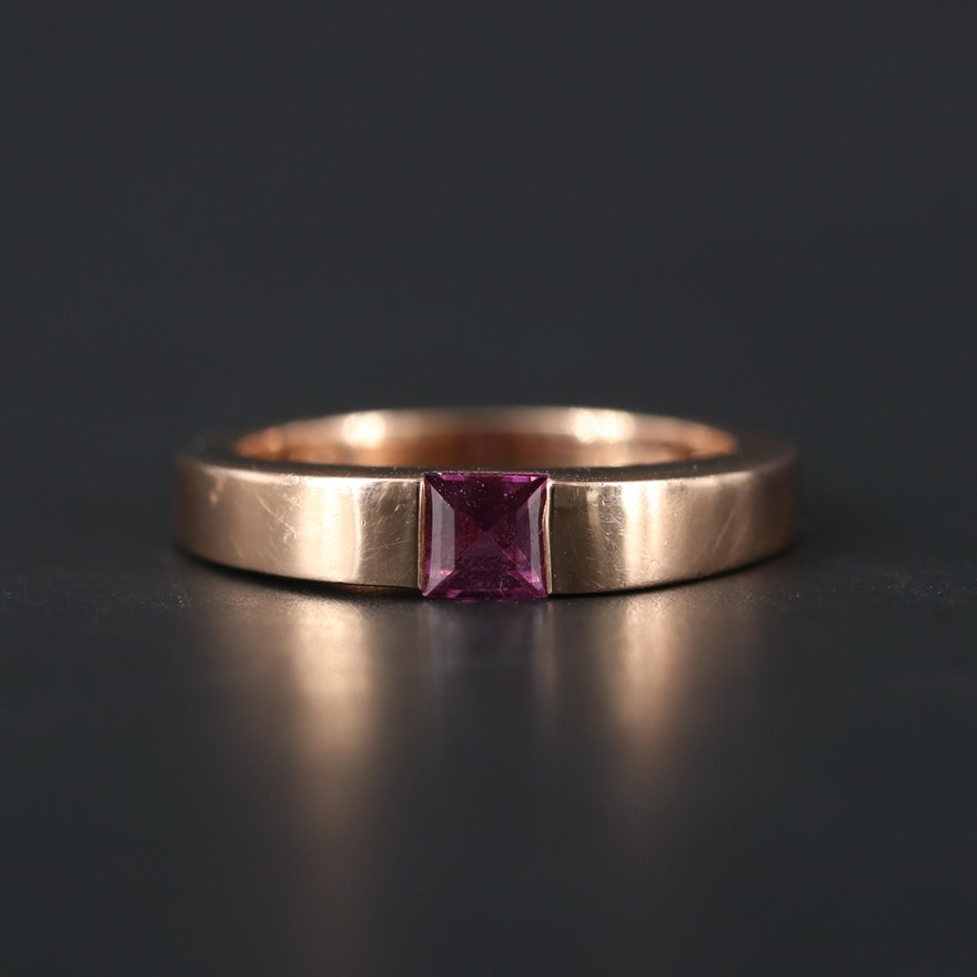 14K Rose Gold Pink Tourmaline Ring