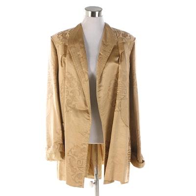 Chinese Ying Tai Co. Golden Silk Damask Evening Jacket, 1940s Vintage