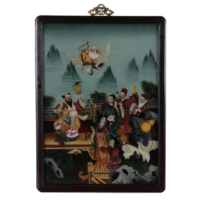 Chinese Reverse-Glass Painting of Figural Scene, 20th Century