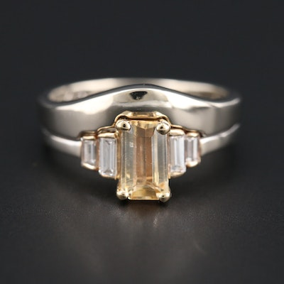 14K White Gold Topaz and Diamond Ring with Yellow Gold Accent