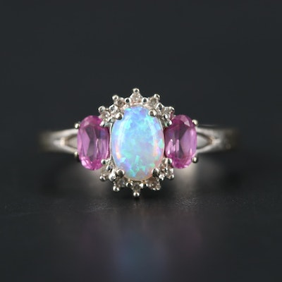 10K Yellow Gold Opal, Pink Sapphire and Diamond Ring