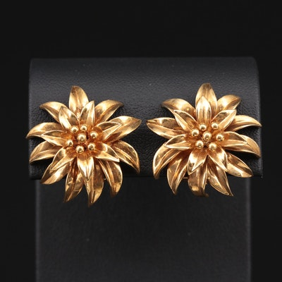 Vintage Tiffany & Co. 18K Yellow Gold Floral Earrings