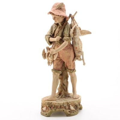 Royal Dux of Bohemia Porcelain Hunter Figurine, Late 19th/Early 20th Century
