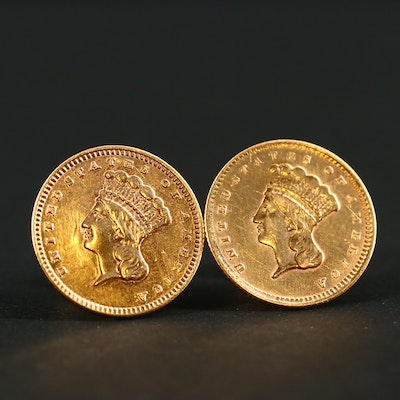 Set of Two Indian Head Princess U.S. Gold Dollar Coin Earrings