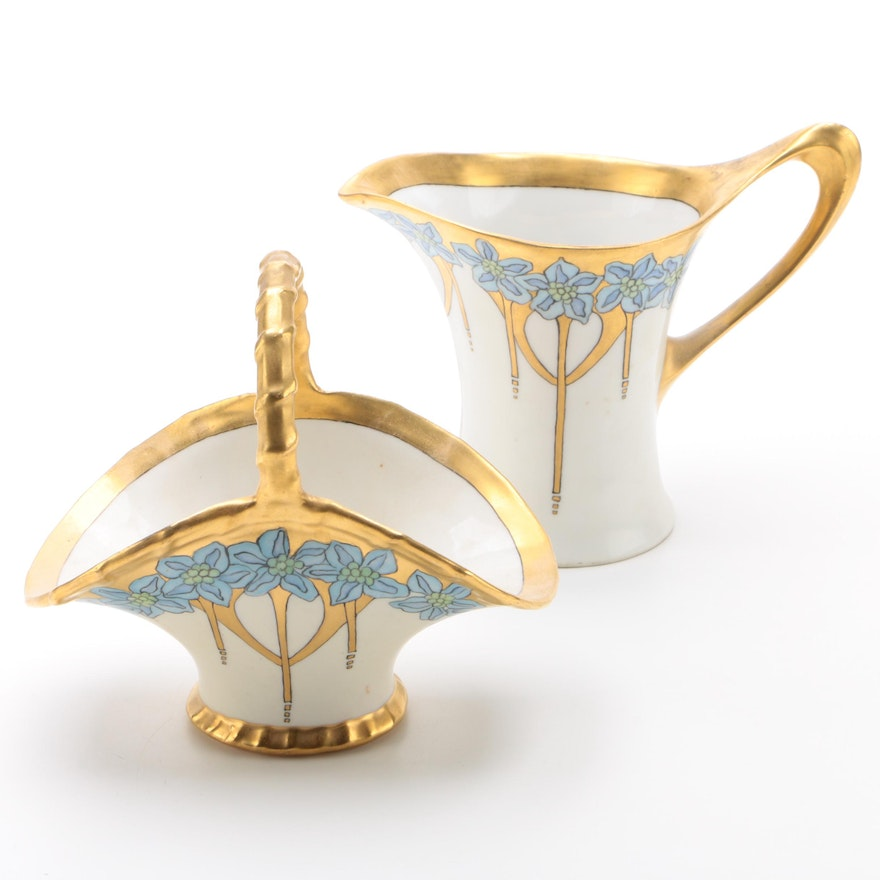 Hobbyist Art Nouveau Hand-Painted Porcelain Creamer and Basket, Early 20th C.