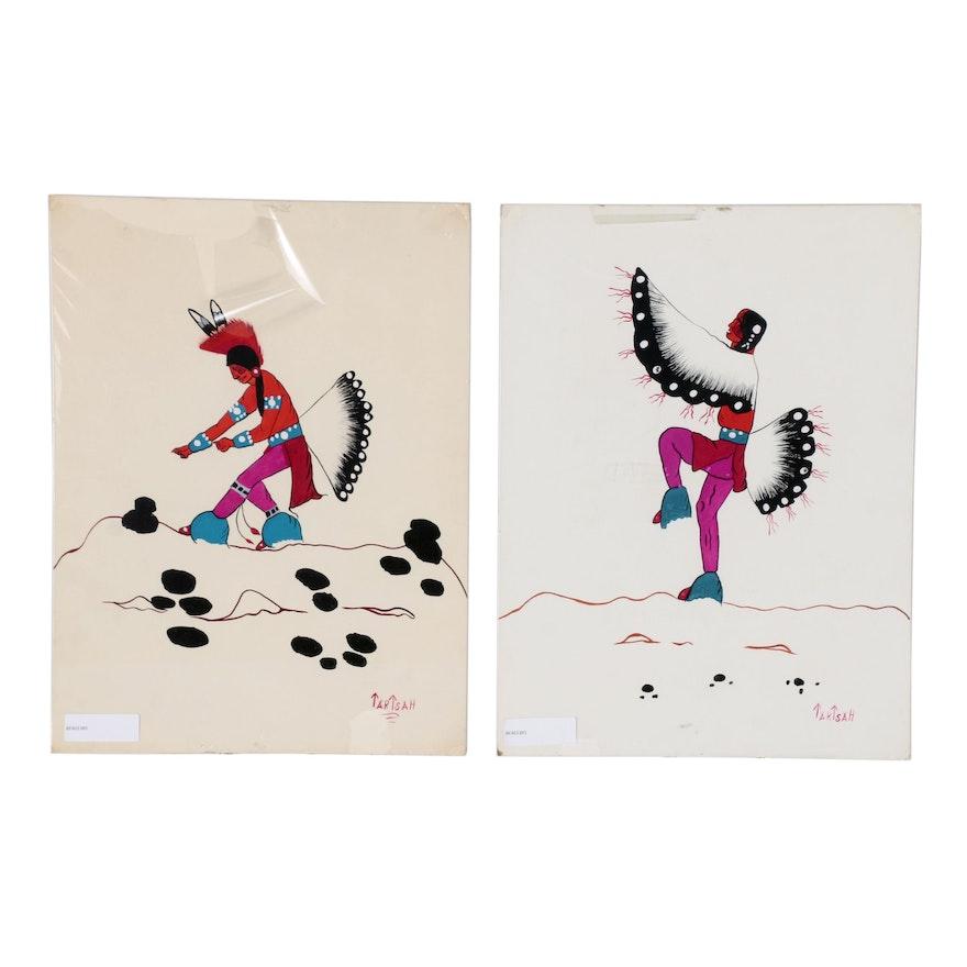 Jim Tartsah Watercolor Paintings of Native American Dancers